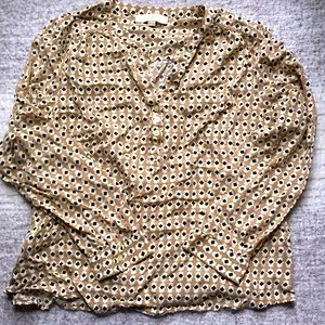 LOFT patterned blouse tan cream black size XL